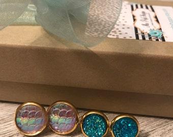 Mermaid Druzy Stud Earrings Set of two Pair, Opal, Pink, Turquoise, 10mm, 8mm, Druzy, Gold, Beach earrings, Bridesmaids Gift