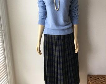 "Tartan Plaid Pleated Skirt midi length Trevira  polyester nylon elastic waistband  plus size waist up to 39"""