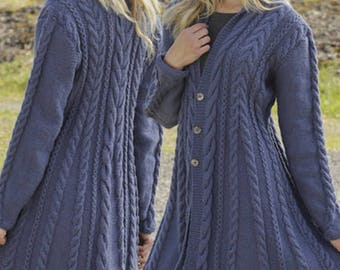 Hand knitted fit n flared aran style jacket cardigan with cables for women ladies S - XXXL - knitted ladies clothes - knitwear - knitting