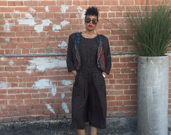 DeadStock Vtg. Multi ColorBLock Mixed Print Culotte Palazzo  JumpSuit// Vest Attached//Never worn Tags Still Attached