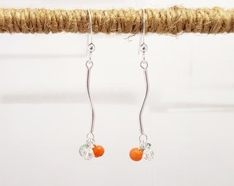 Sterling Silver Curves with Natural Coral, Swarovski Crystal and Tree Agate