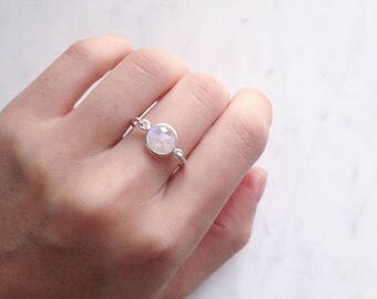 Rainbow Moonstone Ring, Sterling silver gemstone ring, June birthstone Promise ring, Statement ring, Iridescent jewellery Australia