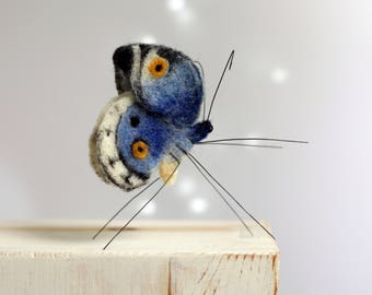 Needle Felted Butterfly - Blue Butterfly - Summer Home Decor - Needle Felting Butterfly - Art Doll -  Blue Home Decor - Needle Felt Animals