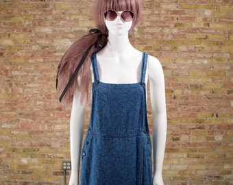 denim jumper dress / 90s jean jumper / wrap front jumper / long jumper dress / jean jumper / denim jumper / floral denim jumper