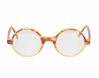 Missoni semi circle - round flat brows steampunk tortoise cello & golden metal browline vintage sunglasses- eyeglasses frames, 1980s NOS
