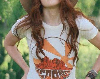 Sedona Tee- Womens Fitted tshirt- 70s vintage inspired- Made in USA- graphic tee- Sedona T-shirt- Desert Tee- Arizona Tee