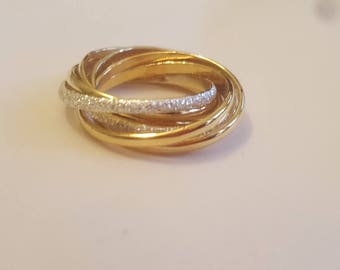 Handcrafted.925 Sterling silver 7 Bands Rolling Ring 18 K Gold Plated and 2 Band Stardust Finished