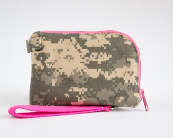 Camo and Pink Cell Phone Wallet, Camouflage Wristlet Wallet, Cell Phone, Pink, Green, and Brown Canvas Fabrics, Handmade