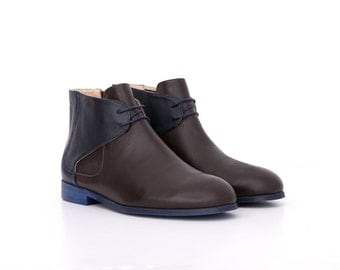 Men's Chelsea Boots Designers shoes handmade blue and brown leather, ADIKILAV