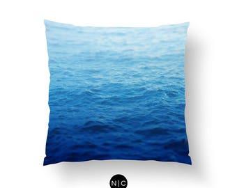 Caribbean Waters - Throw Pillow, Tropical Blue Ombre Ocean Nautical Accent Pillow Coastal Home Beach Surf Decor. In 16x16 18x18 20x20 Inches