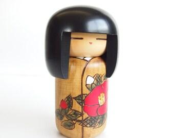 Sweet Vintage Kokeshi Doll. Beautiful Japanese Kokeshi Doll. Vintage Kokeshi. Mid Century Style. Floral Kimono. Modern Japanese Kokeshi.