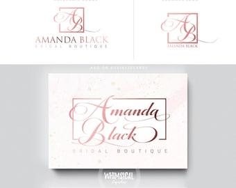 feminine script logo rose gold nutral businesscards  simple modern feminine branding- logo Identity artist makeup wedding photographer