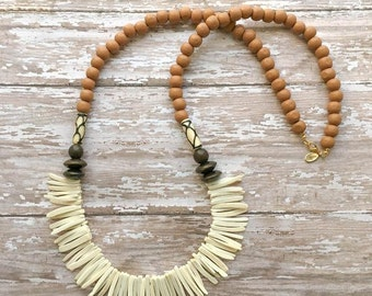 tan and white coconut spike wooden beaded necklace