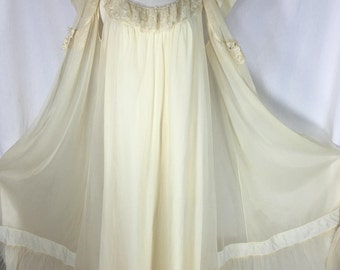 Vintage Shadowline Size Large Nylon Nightgown & Sheer Peignoir Set Full Sweep Ivory