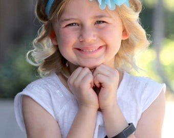Aqua Blue Flower Headband, Aqua Blue Headband, Aqua Blue Flower Girl Headband, Aqua Blue Hair Clip, Aqua Blue Flower Clip, Aqua Headband