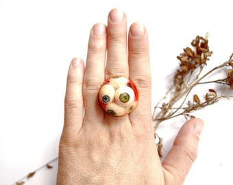 Evil eye ring Horror jewelry Macabre jewelry Weird stuff Anatomical jewelry Medical jewelry Scary ring terrarium ring Cabinet of curiosities