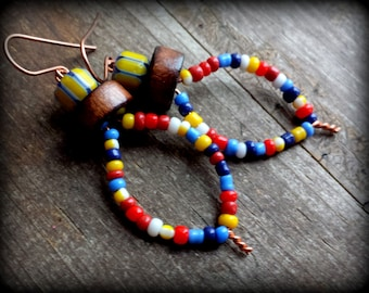 Yellow modern earrings, red ethnic earrings, modern tribal earrings, small yellow earrings tiny glass bead hoops mixed primary color jewelry