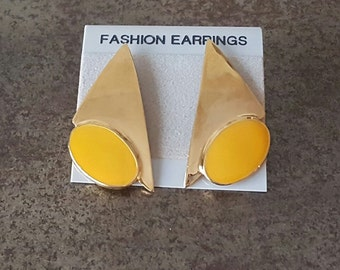 Vintage Glam Enamel Earrings 1980s/90s New Old Stock NOS Gold & Yellow Deadstock 80s Glam Mod Retro Pierced Posts