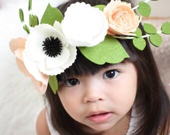Felt Flower Crown / Flower Girl Crown / Peach Flower Crown / Blush Floral Crown / Blush Wedding / Bridal Party / Bridal Shower