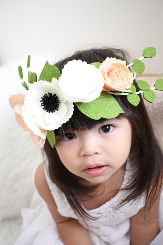 Felt flower crown flower girl crown peach flower crown details this delicate flower crown izmirmasajfo