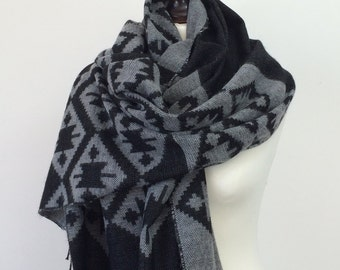 Blanket Scarf, Oversize Wrap Shawl, Gray Aztec Scarf, Men's Scarf, Tribal Shawl, Kilim Winter Scarf, Tribal Scarf, Women Wool Scarf