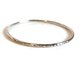 Thin Solid Fine Silver Bangle Hammered Oxidized Silver Bangle Texturized Fine Silver Bangle Rustic Artisan 999 Silver Single Bangle