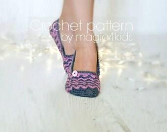 Crochet pattern- women slippers,all women sizes,loafers,shoes,footwear,adult,teen girl,original stitchery,chevron,ladies home fashion,yarn