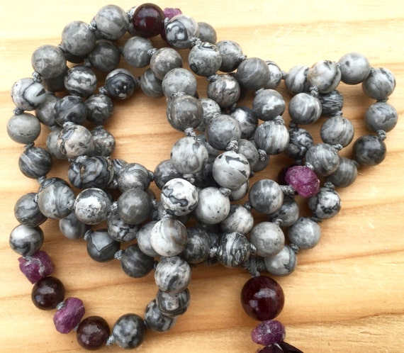 Raw Ruby Mala Beads, Scenery Jasper, Garnet , Silk Sari Tassel , Root and Heart Chakra Mala Beads Yoga Jewelry 108 Meditation Beads