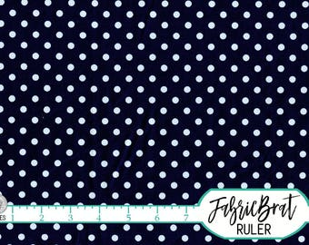 NAVY BLUE DOT Fabric by the Yard Fat Quarter Chic Michael Miller White on Navy Polka Dots Fabric 100% Cotton Fabric Quilting Fabric t6-8