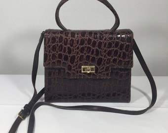 1950's, 1960's, Brown Leather Purse, Bag, Kelly, Shoulder Bag, Michael Rose, Los Angeles , Crocodile Embossed