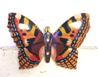 Rare Early 1940's Plastic Red Admiral Butterfly Brooch