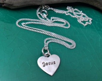 Silver Jesus Heart Charm, Tiny Silver Heart Charm, Jesus Charm, Tiny Heart Charm, Christian Necklace,Christian Jewelry,Girls Purity Necklace