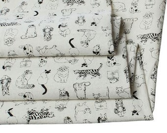 Cotton & Linen Natural Fabric Black Cat Pattern - 1 Yard