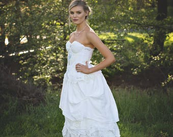 English Garden Embroidered Corset, English Wildflower Embroidered Corset, English Fairytale Wedding Corset, Embroidered Wedding Gown