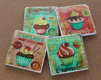 Set of 4 Tumbled Marble Tile Coasters - Cupcakes