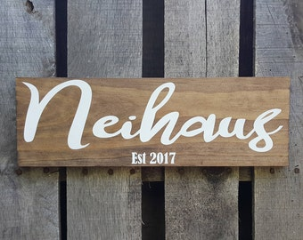 CUSTOM Last name and Est. date wood sign, hand painted rustic distressed handmade wedding date wall art home decor wooden sign stained