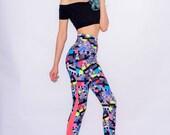Icon Retro TV Printed Leggings High Waisted Leggings Festival Leggings Yoga Pants Retro Dancewear Burnt Soul