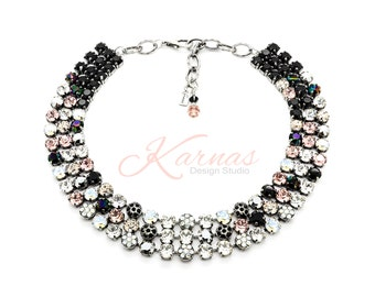 Miss Priss 8mm Crystal Statement Necklace Made With Swarovski Elements *Antique Silver *Karnas Design Studio™ *Free Shipping*