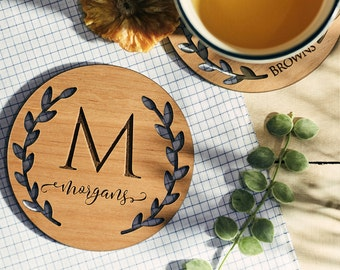 Custom Coasters, Personalized Coasters, Lacquered Wood Coaster, Monogram Coaster, Inexpensive Wedding Favors, party favor - COA#001(A)
