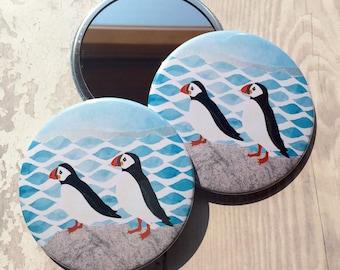 Puffins mirror, compact mirror, puffin birds, pocket mirror