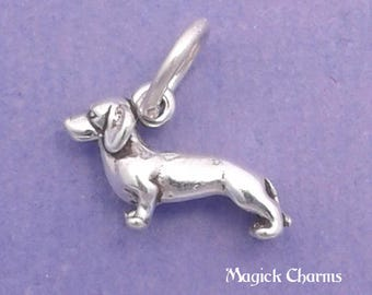 Tiny DACHSHUND Charm .925 Sterling Silver, Weenie, Doxie, Miniature SMALL Dog - lp3535