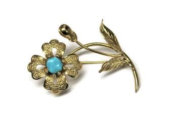 Vintage 14K Turquoise Flower Brooch