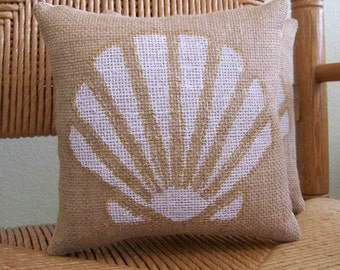 Sea Shell pillow, Beach pillow, Burlap pillow, stenciled pillow, Nautical pillow, gold pillow, FREE SHIPPING!