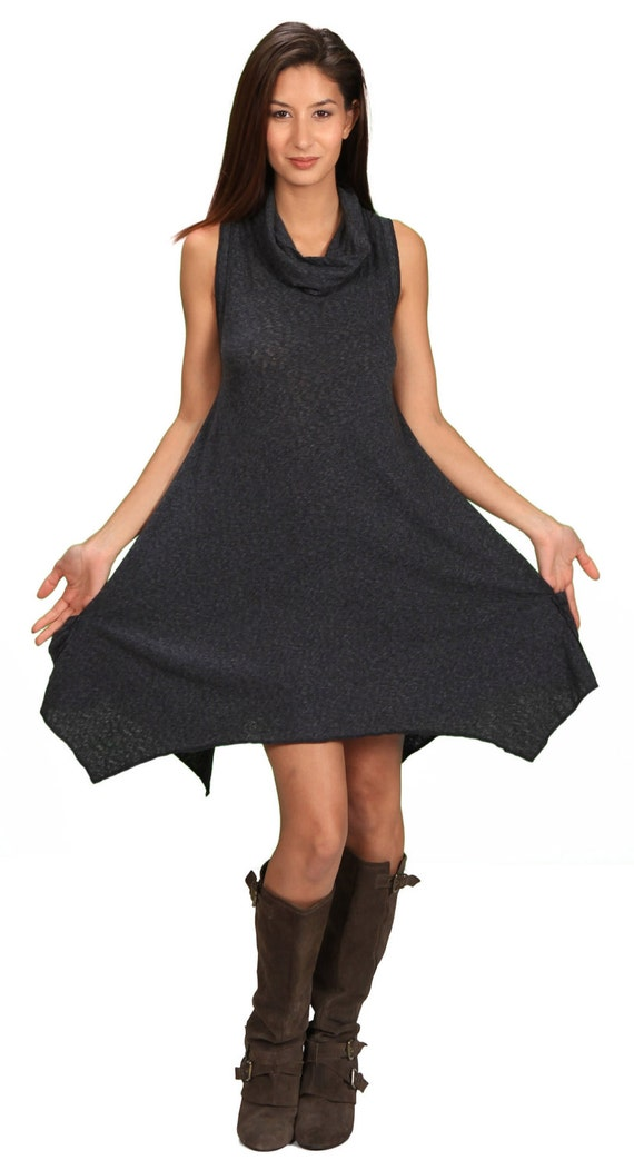 Women's Cowl Neck Sleeveless Pixie Dress in Cloud Black