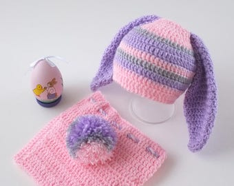 Easter Bunny Hat and Diaper Cover Baby Photo Prop Baby Girl Bunny Set Baby Shower Gift  Pink Easter Rabbit Baby Set Crochet Hats