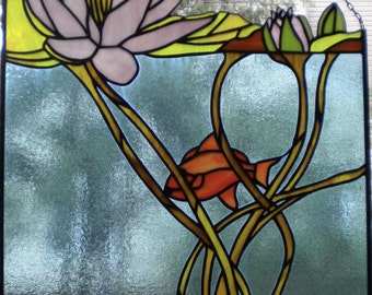 Stained glass window panel - underwater lily pond