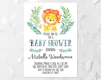 Lion Baby Shower Invitation Printable Safari Baby Shower Invite Jungle Baby Shower Invite Lion Shower Invite Boy Baby Shower Invitation 104