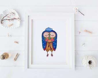 Cozy Owl, Watercolor Art Print