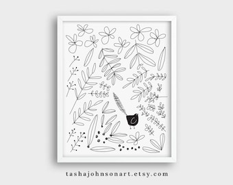 Bird in the Bushes – Black and White Illustration Art Print – 8x10 or 11x14