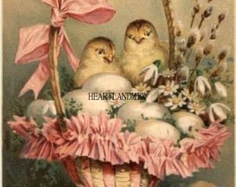 Vintage Victorian Easter Basket Postcard Digital Image Download Printable Easter Chicks Eggs